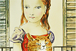 Fujita Tsuguharu (Leonard Foujita) Cat and girl in front of the window