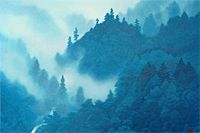 Higashiyama Kaii Clouds rising on mountains (new reprint picture)