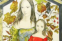 Fujita Tsuguharu (Leonard Foujita) Mother and child in front of grape shelf