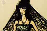 Bernard Buffet Carmen (Yellow scarf, Green dress, Violet folding fan)
