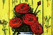 Bernard Buffet Red roses in a vase