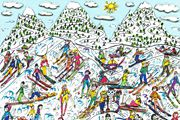 James Rizzi TOO MANY PEOPLE GOING SKIING