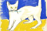 Fujita Tsuguharu (Leonard Foujita) White cat with a fish in its mouth