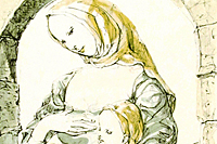 Fujita Tsuguharu (Leonard Foujita) The mother-and-child image under an arch