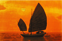 Hirayama Ikuo Silk road of Southern sea in evening sun