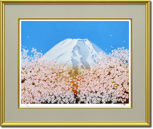 Nakajima Chinami Cherry blossoms in fine / Mt.Fuji