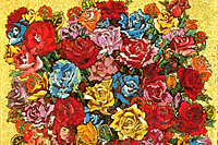 Kinutani Koji  Brilliant roses at the golden background
