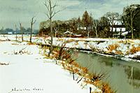 塗師祥一郎 雪後の川辺