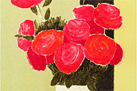 Cathelin Bernard Black band and red roses 2