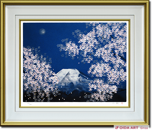 Nakajima Chinami Mt.Fuji in spring cherry blossoms under moonlight