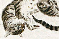 藤田嗣治 猫十態 横たわる猫