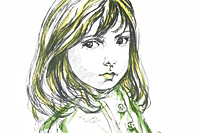 Fujita Tsuguharu (Leonard Foujita) Girl of clothes of three buttons